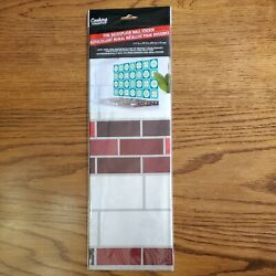 White Brown Red Tile Foil Backsplash Wall Art Decal 17.7in X 29.5in Peel Stick