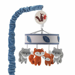 Lambs & Ivy Little Campers Musical Baby Crib Mobile - Blue, White, Animals