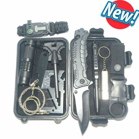 img-10 in 1 Emergency Equipment Box SOS Gear Kit set Tool Outdoor Camping Survival