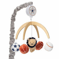 Lambs & Ivy Hall of Fame Lion/Sports Balls Musical Baby Crib Mobile Soother Toy