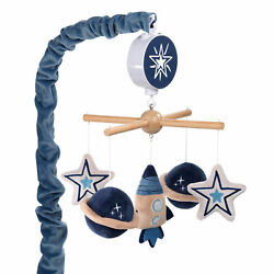 Lambs & Ivy Sky Rocket Planets/Stars Musical Baby Crib Mobile Soother Toy- Blue