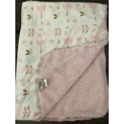 Chick Pea Baby Blanket Tulip Flower Butterfly Pink Sherpa Plush Security