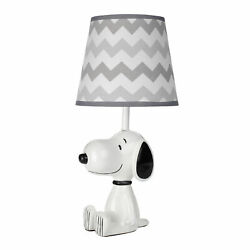 Lambs & Ivy Snoopy Lamp with Shade & Bulb - White/Black/Gray