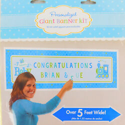 Baby Boy Giant Banner/Custom Sign Kit with Letters/Numbers Personalize 5' wide