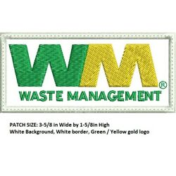 Waste Management driver patch 1-5/8 X 3-5/8 SEW ON
