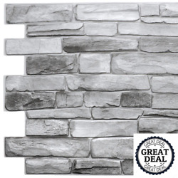 3D Retro III 39'' X 20'' Grey Faux Stone PVC Decorative Wall Paneling (10-Pack)