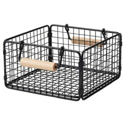 Brand New IKEA NATADE Wire Basket with Handles in Black, 8 ¾x8 ¾x4 ¾