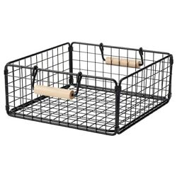 Brand New IKEA NATADE Wire Basket with Handles in Black, 11x11x4 ¾ ''