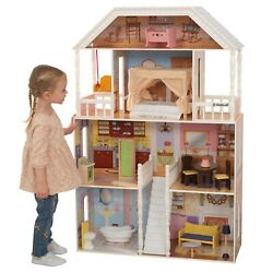 KidKraft Savannah Wooden Dollhouse, Over 4 Feet Tall with Porch Swing and 14 Acc