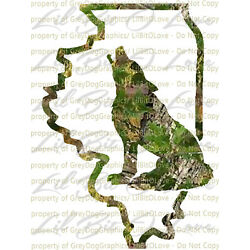 Camo Coyote Illinois IL State Outline Vinyl Decal Sticker Hunting