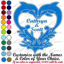 KISSING DOLPHIN HEART CUSTOM VINYL DECAL PERSONALIZED WITH YOUR NAMES