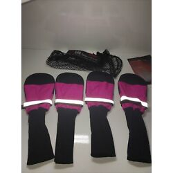 Muttluks Dog Boots (4) Booties Shoes Snow Rain All-Weather Black & Pink SZ XL