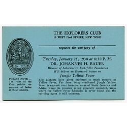 THE EXPLORERS CLUB 10 West 72nd St. NYC 1938 Invitation Card JUNGLE YELLOW FEVER
