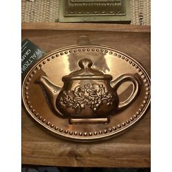 Vintage COPPER Mold TEAPOT Wall Hanging Oval NWT Pfaltzgraff