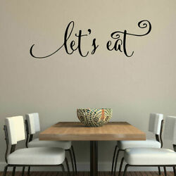 LET'S EAT Kitchen Dining Wall Words Lettering Quote Decal Sticker Rustic Decor
