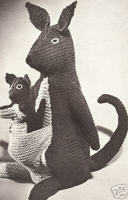 Kangaroos Stuffed Animal Toy Knitting Pattern Vintage eBay