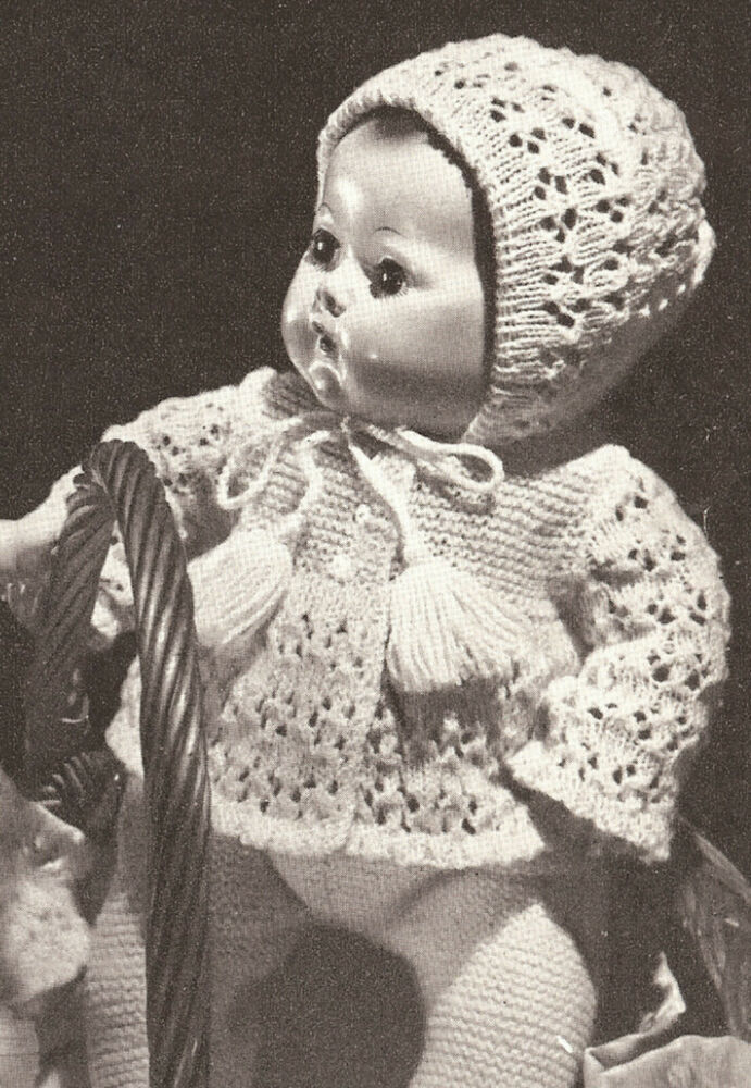 Knitted 16 Quot Baby Doll Clothes Bonnet Cap Coat Pattern Ebay