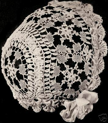 Vintage Antique Crochet Pattern To Make Cluny Lace Baby