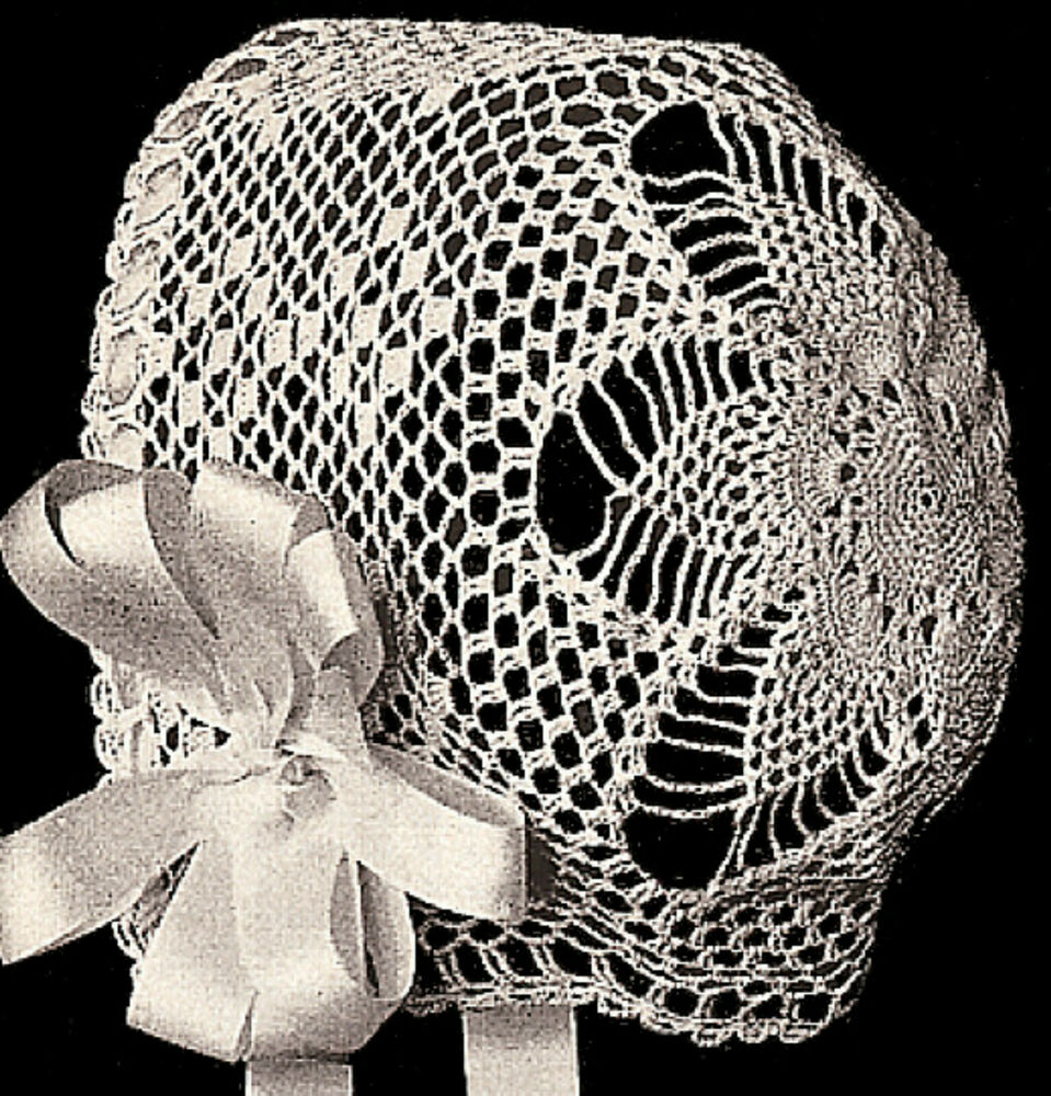 Vintage Antique Baby Bonnet Pineapple S Crochet Pattern Ebay