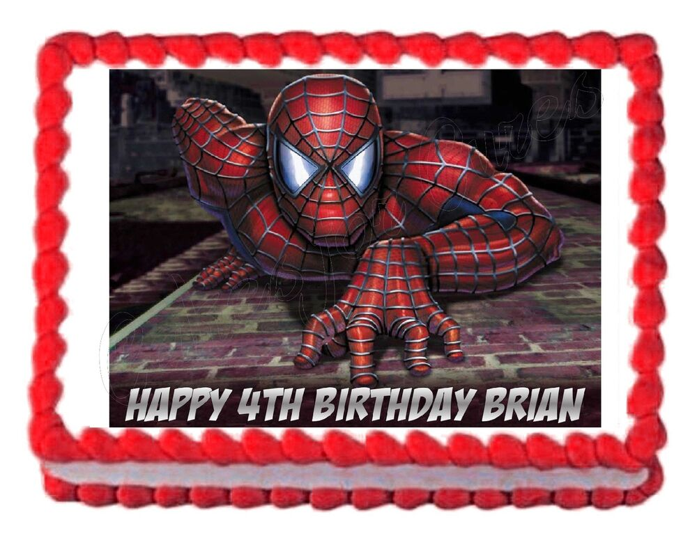Spiderman Cake Decorations Uk : SPIDERMAN party edible cake topper cake image frosting ...