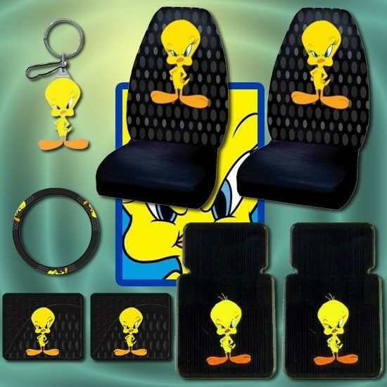 8pc tweety bird car mats seat covers steering keychain ebay. Black Bedroom Furniture Sets. Home Design Ideas