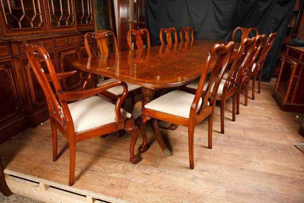 Regency Pedestal Dining Table Amp Queen Anne Chairs Set Ebay