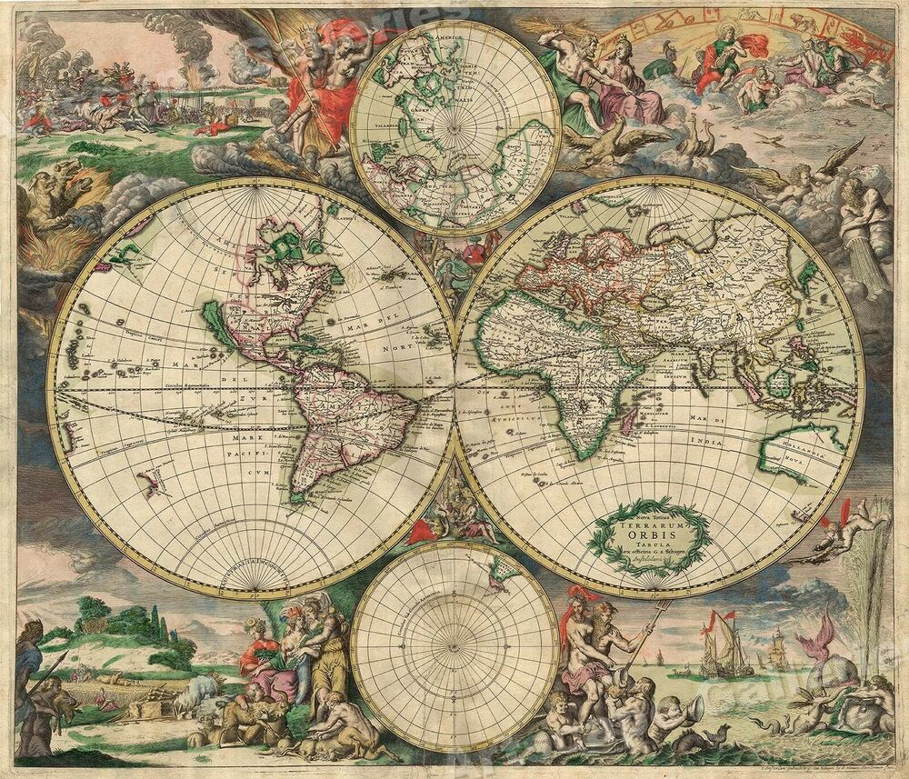 Antique Map: 1689 Interesting Old World Map - New Amsterdam! 24x28