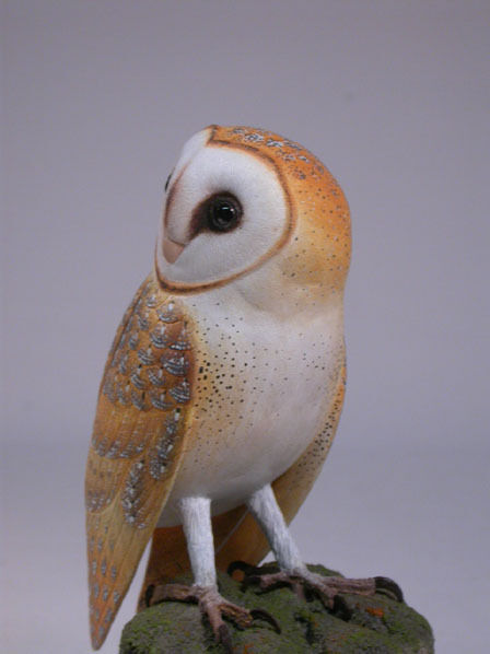 Quot barn owl original wood bird carving birdhug ebay