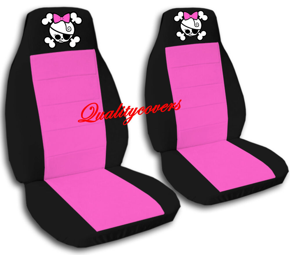 2 Cool Car Seat Covers Blk Hot Pink W Girly Skull