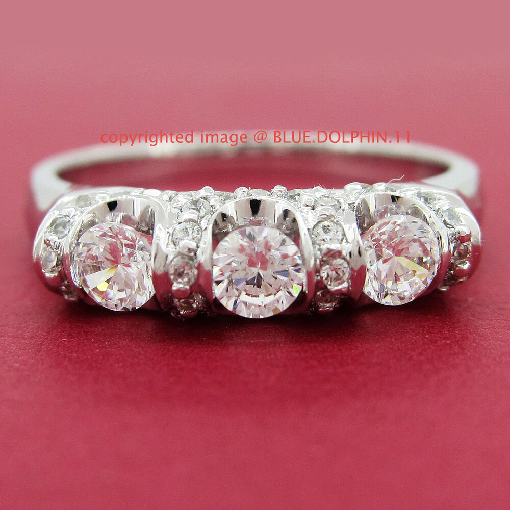 Genuine Solid 9ct White Gold Engagement Wedding Trilogy Ring ...