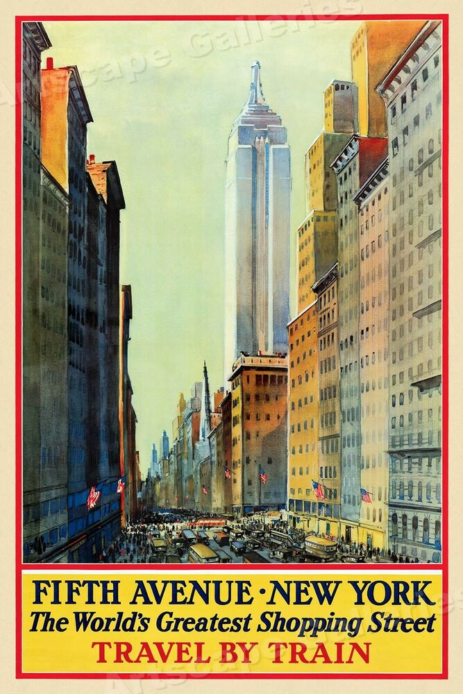 5th ave new york city vintage style travel poster 24x38 ebay. Black Bedroom Furniture Sets. Home Design Ideas