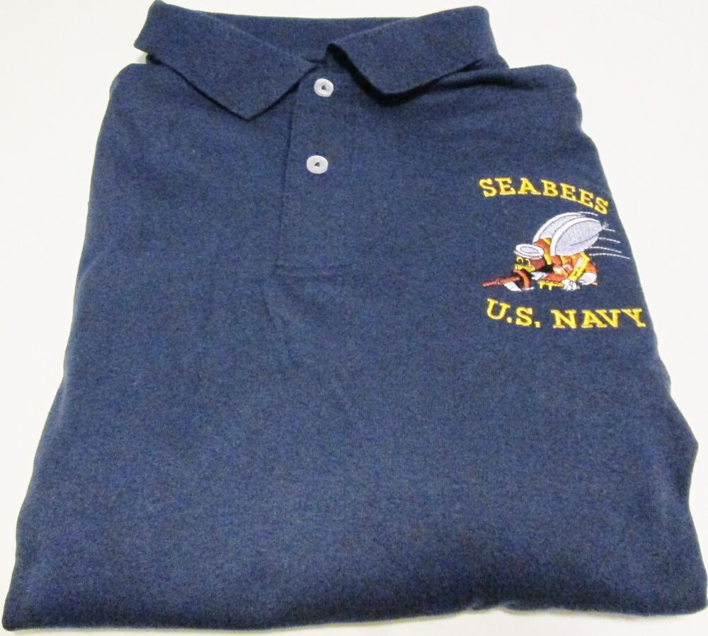 U s navy seabees logo embroidered light weight polo for Us polo shirts offers