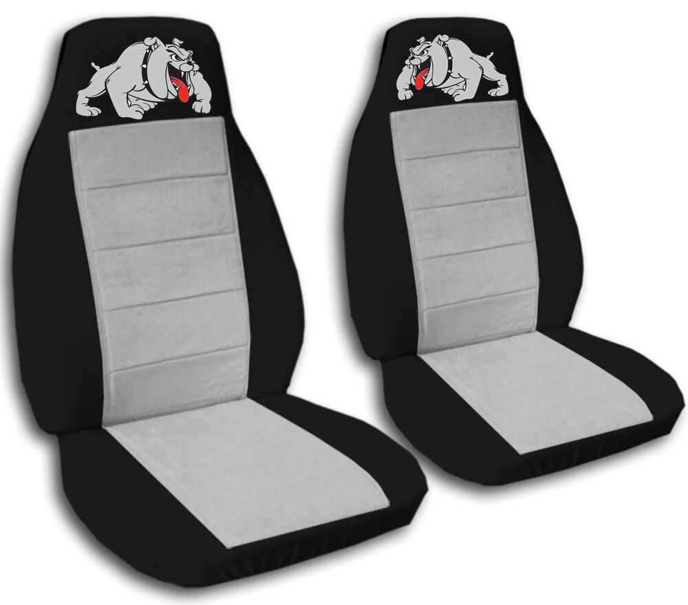 2 COOL BULLDOG CAR SEAT COVERS BLK SILVER HIGHQUALITY