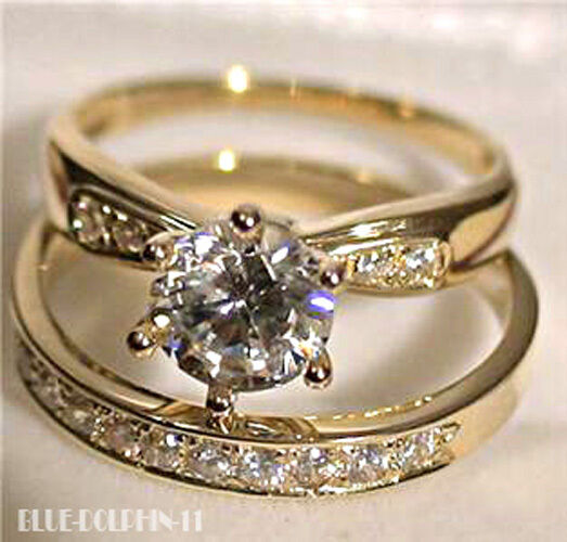 Real genuine solid 9k yellow gold engagement wedding rings for Ebay diamond wedding ring sets