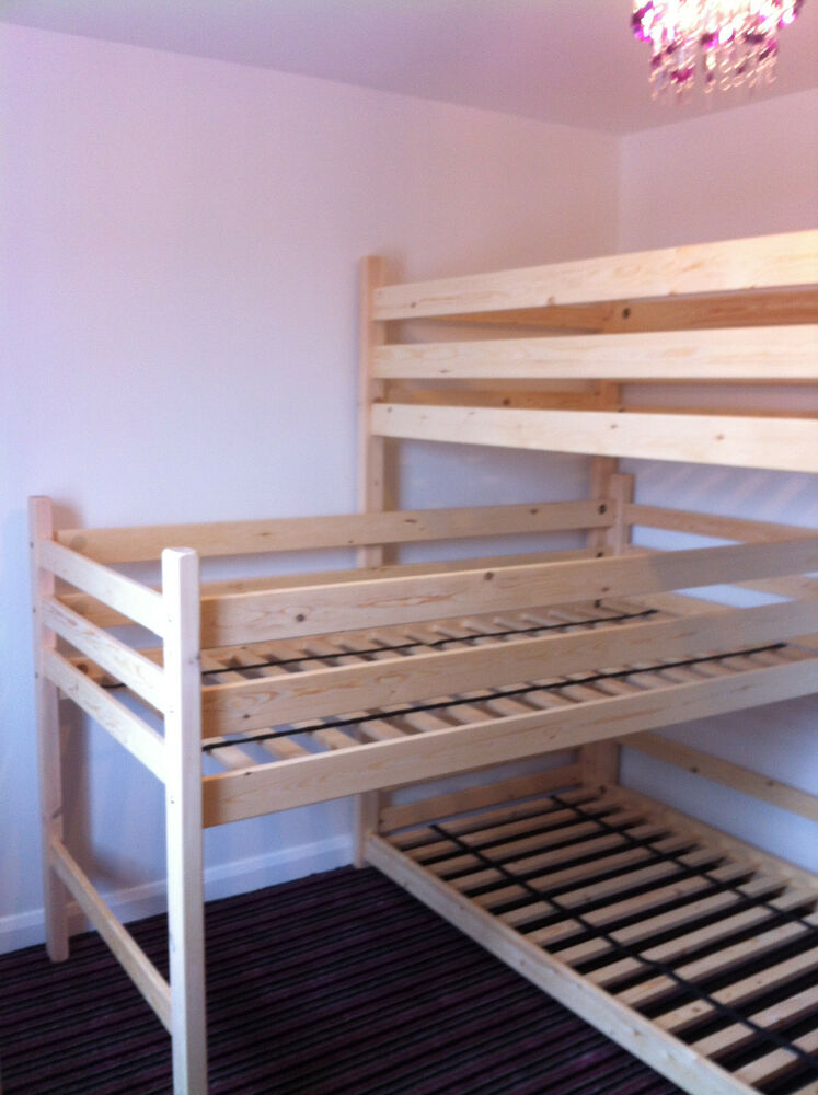 tri bunk triple bunks l shaped bunk 3 high bunks can be made to your length ebay. Black Bedroom Furniture Sets. Home Design Ideas