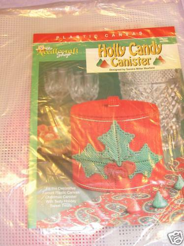 Where To Buy Bulk Candy: PLASTIC CANVAS HOLLY CANDY CANISTER KIT Needle Yarn Inc