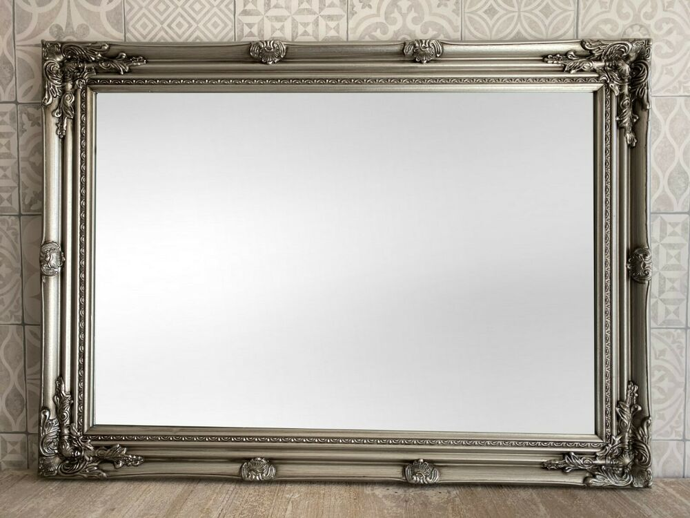 Silver Mirror Wall Photo Frame: ANTIQUE SILVER ORNATE LARGE WALL MIRROR