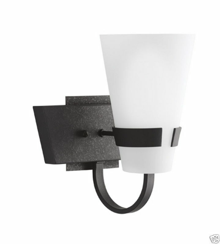 Bathroom Wall Sconces Black : KICHLER BLACK BATH/WALL SCONCE FIXTURE WITH GLASS eBay