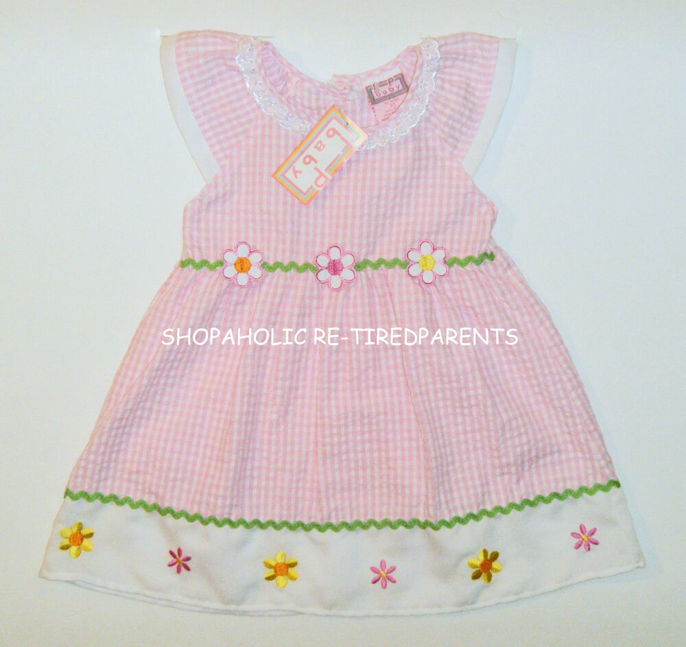 36eae8fb2 F P BABY – DRESS - PINK   WHITE GINGHAM – FLOWERS - TODDLER - SIZE ...