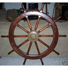 U.S. NAVY Antique Wood Ship Wheel 54