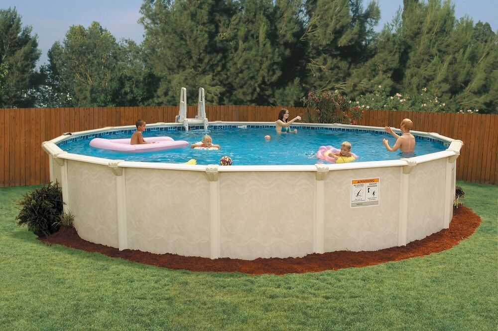 Doughboy premier 18ft round swimming pool kit ebay for Poolumrandung rund