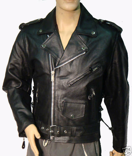LEATHER MENS CLASSIC MOTORCYCLE JACKET/JACKETS NEW 56