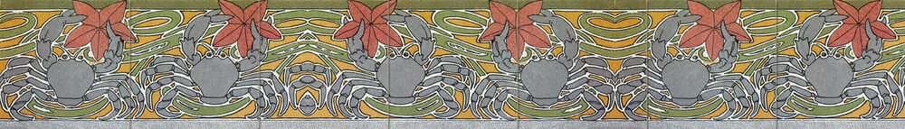 Ceramic mural border sea art nouveau decor tile 540 ebay for Art nouveau tile mural