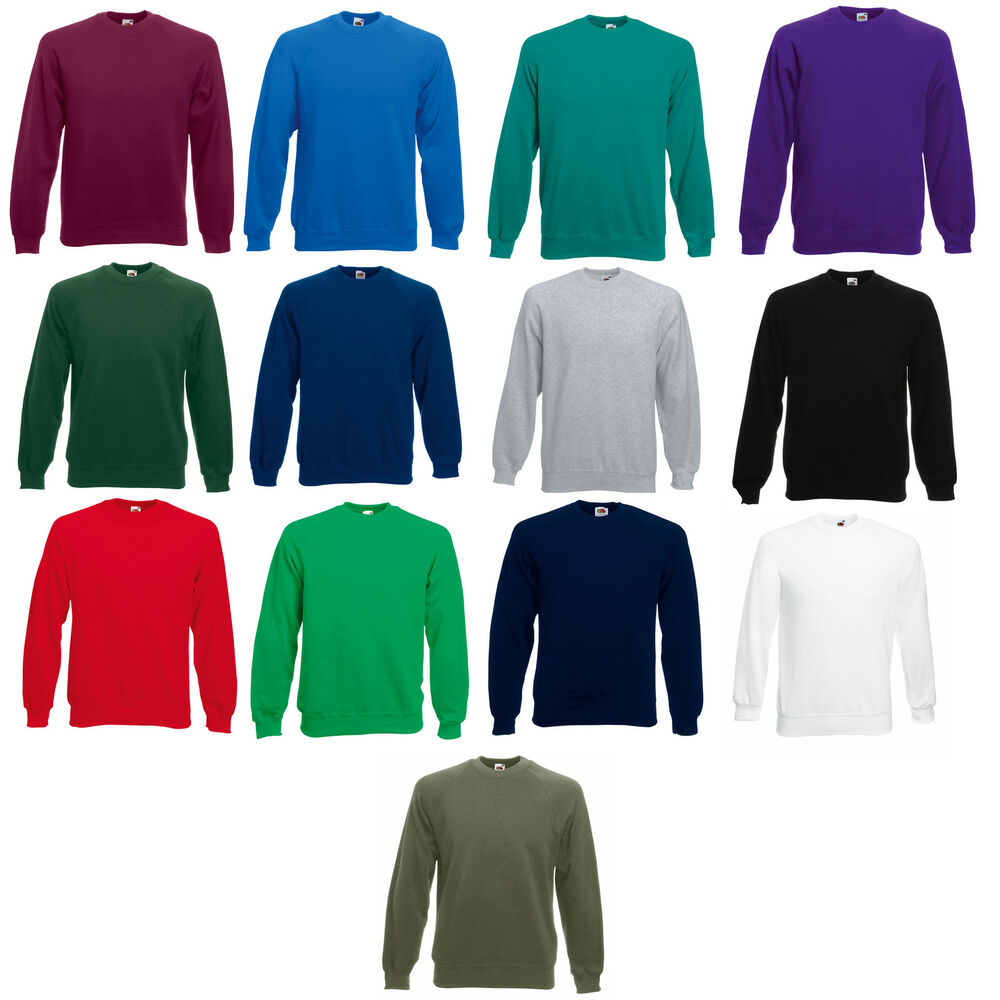 fruit of the loom mens raglan sweatshirt sweater jumper ebay. Black Bedroom Furniture Sets. Home Design Ideas