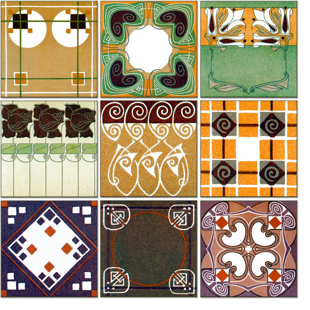 Mural ceramic art nouveau backsplash decor tile 520 ebay for Artwork on tile ceramic mural