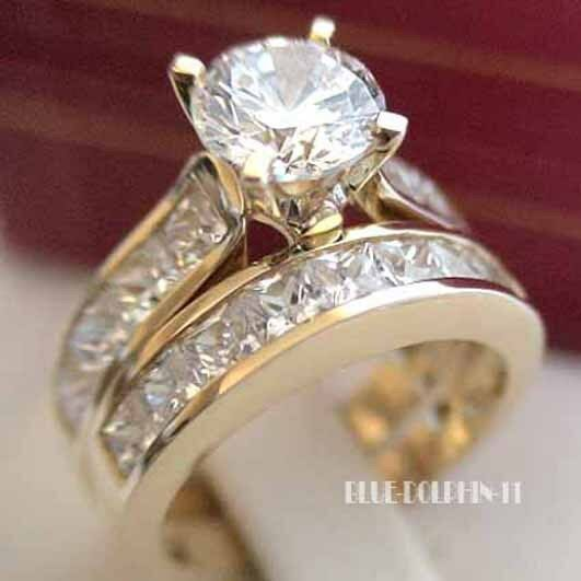 Genuine Solid 9ct Yellow Gold Engagement Wedding 2 Rings ...