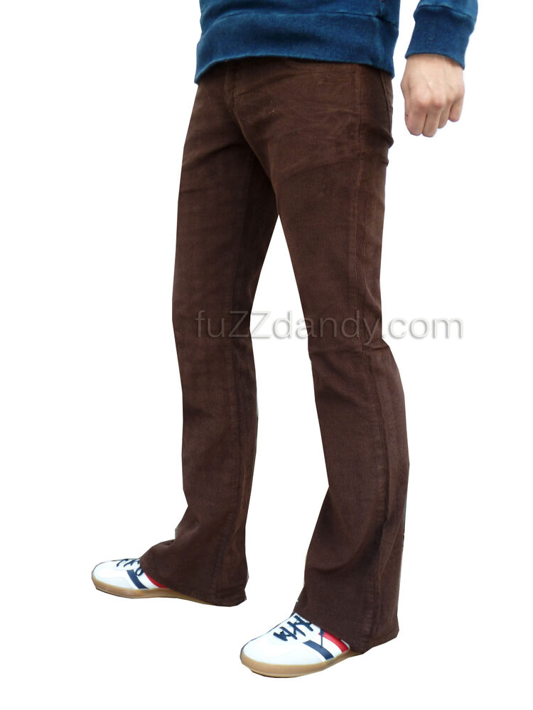 Mens brown bootcut cords vtg jeans retro flares mod 60s  eBay