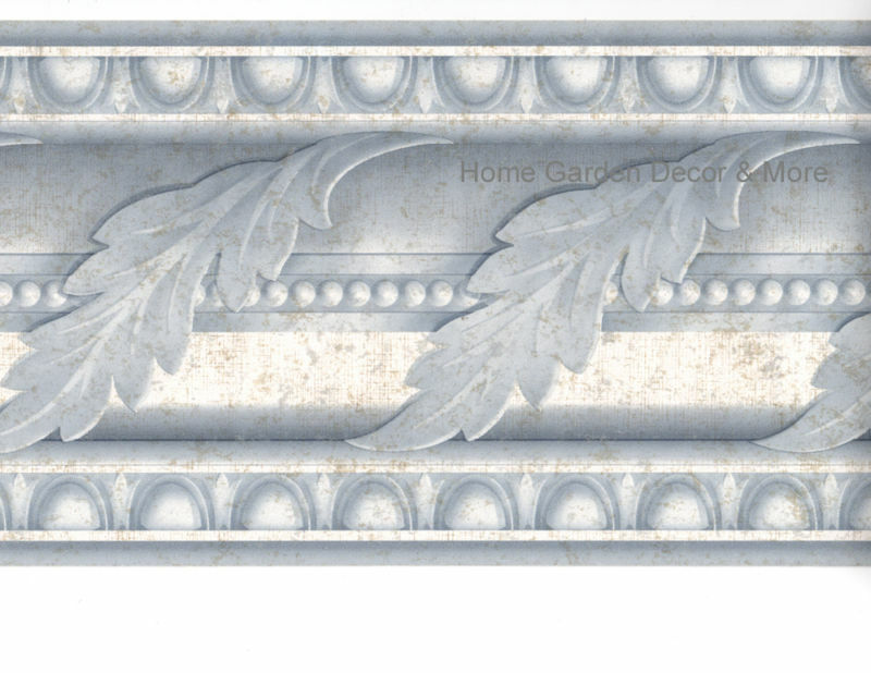 Blue acanthus leaf scroll crown molding moulding egg dart wall paper border ebay - Crown molding wallpaper ...