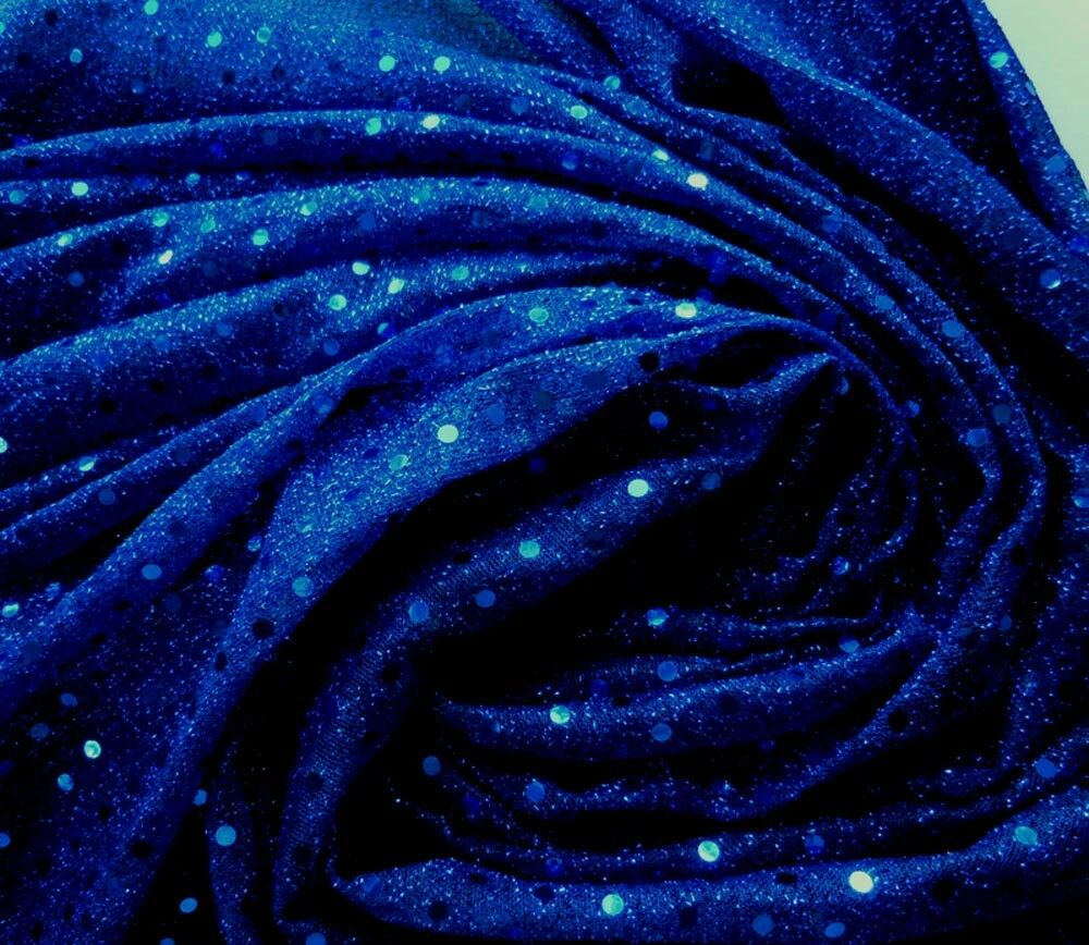 G18 shiny blue sequin fabric nylon material by yard ebay for Sparkly fabric