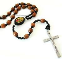 "Catholic Wooden Beaded Rosary Cross Necklace 30"" Long"